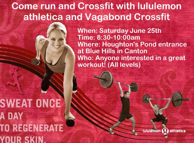 lululemon Showcase Event on Saturday, June 25th, 2011 from 8:30 am to 10:00 am at Blue Hills. There are 4 spots left, who wants to fill those up and have a great experience in a different setting and environment!